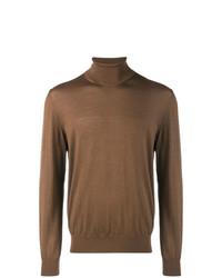 Jersey de cuello alto marrón de Z Zegna