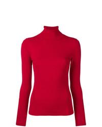 Jersey de cuello alto rojo de Dvf Diane Von Furstenberg