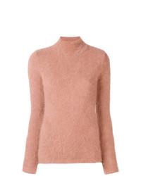 Jersey de cuello alto rosado de Ulla Johnson