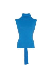 Jersey de cuello alto sin mangas azul de Etro