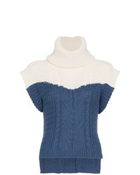 Jersey de cuello alto sin mangas azul de Johanna Ortiz