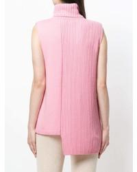 Jersey de cuello alto sin mangas de punto rosado de Cashmere In Love