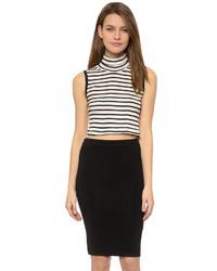 Jersey de cuello alto sin mangas de rayas horizontales en blanco y negro