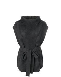 Jersey de cuello alto sin mangas en gris oscuro de Le Kasha