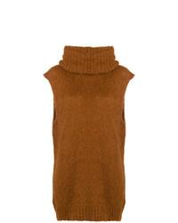 Jersey de cuello alto sin mangas en tabaco de Erika Cavallini