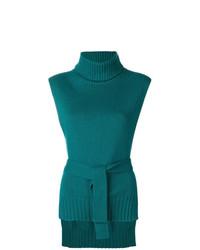 Jersey de cuello alto sin mangas en verde azulado de Etro