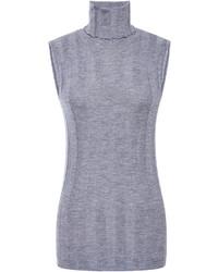Jersey de cuello alto sin mangas gris