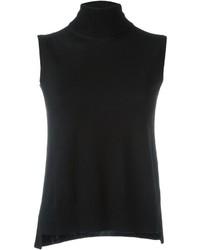 Jersey de cuello alto sin mangas negro de Akris