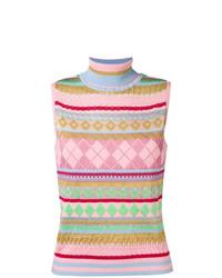 Jersey de cuello alto sin mangas rosado de Moschino