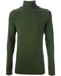 Jersey de cuello alto verde oliva de Bottega Veneta