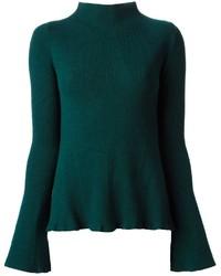 Jersey de cuello alto verde oscuro de Alexander McQueen