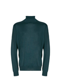 Jersey de cuello alto verde oscuro de Corneliani