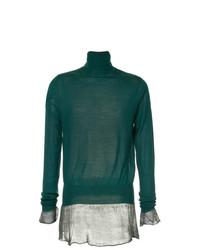 Jersey de cuello alto verde oscuro de Sacai