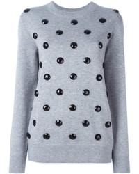 Jersey de lana con adornos gris de Marc Jacobs