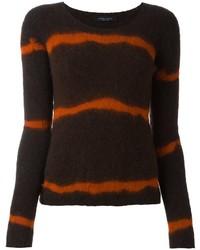Jersey de lana de rayas horizontales verde oliva de Roberto Collina