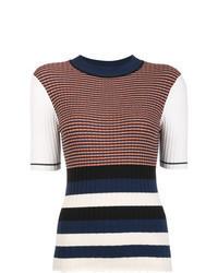 Jersey de manga corta de rayas horizontales en multicolor
