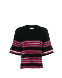 Jersey de manga corta de rayas horizontales negro de Fendi