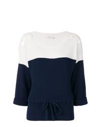 Jersey de manga corta en azul marino y blanco de Agnona