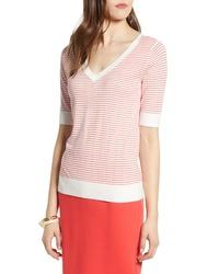 Jersey de manga corta estampado en blanco y rojo