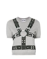 Jersey de manga corta estampado gris de Moschino