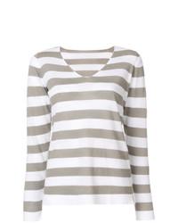 Jersey de pico de rayas horizontales gris de Le Tricot Perugia