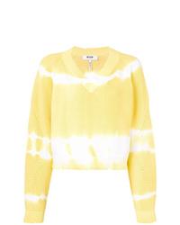 Jersey de pico efecto teñido anudado amarillo de MSGM