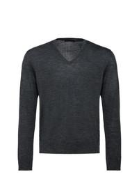 Jersey de pico en gris oscuro de Prada