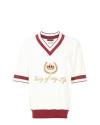 Jersey de pico estampado blanco de Dolce & Gabbana
