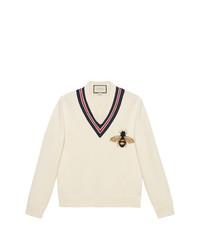 Jersey de pico estampado en beige de Gucci
