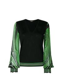 Jersey de pico estampado negro de Roberto Cavalli