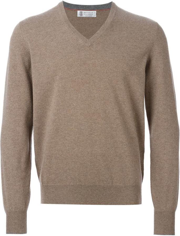Jersey de pico marrón claro de Brunello Cucinelli