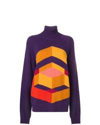 Jersey oversized con estampado geométrico en violeta de Bottega Veneta