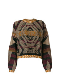Jersey oversized con estampado geométrico marrón de Etro