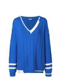 Jersey oversized de punto azul de Miu Miu