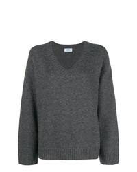 Jersey oversized de punto en gris oscuro de Prada