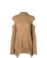 Jersey oversized de punto marrón claro de Roberto Cavalli