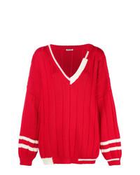 Jersey oversized de punto rojo de Miu Miu