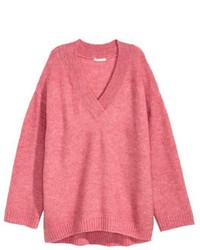 Jersey oversized de punto rosa