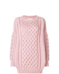 Jersey oversized de punto rosado