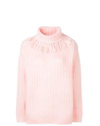 Jersey oversized de punto rosado de Miu Miu