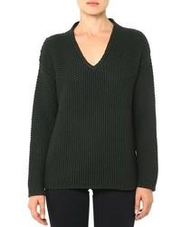 Jersey oversized de punto verde oscuro