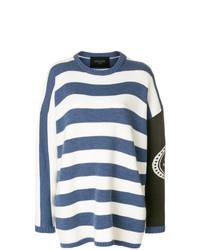 Jersey oversized de rayas horizontales en blanco y azul marino de Mr & Mrs Italy