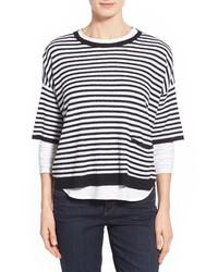 Jersey oversized de rayas horizontales en blanco y negro