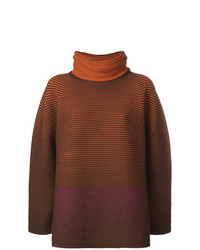 Jersey oversized de rayas horizontales marrón de Issey Miyake