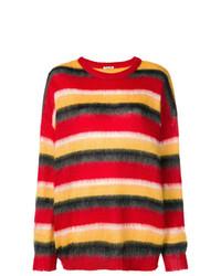 Jersey oversized de rayas horizontales rojo de Miu Miu