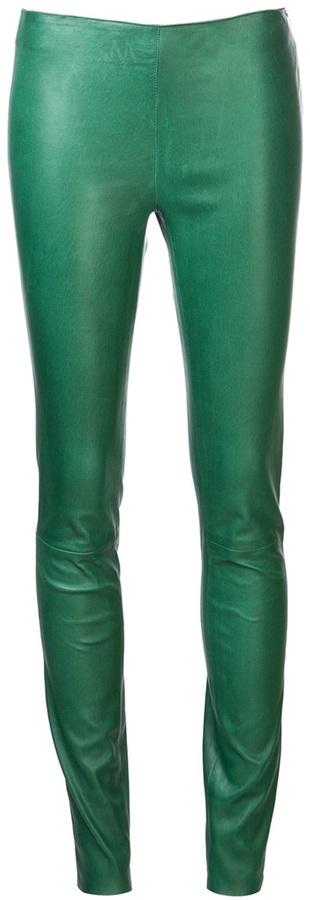 Leggings de cuero verde oscuro de Drome