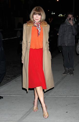 Abrigo con cuello de piel blusa de manga larga falda a media pierna sandalias planas bufanda large 13297