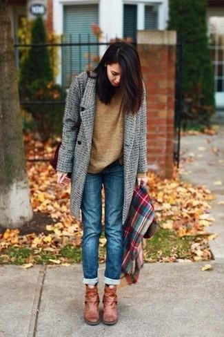 marrónes Cómo un 7 de unos abrigo botines con gris combinar looks 7AwSfxrqt7