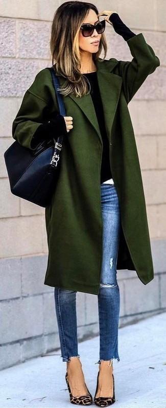 Look abrigo verde oscuro