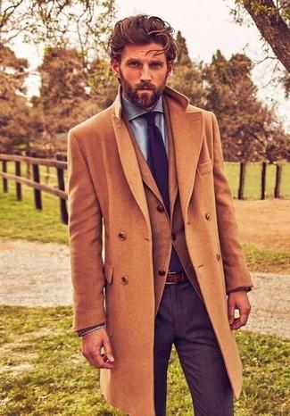 lana claro Abrigo moda largo de claro marrón de Look marrón Blazer 68cxFAwW